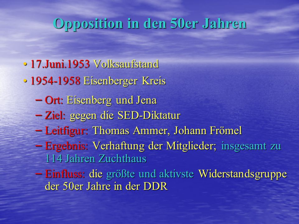 Opposition in den 50er Jahren
