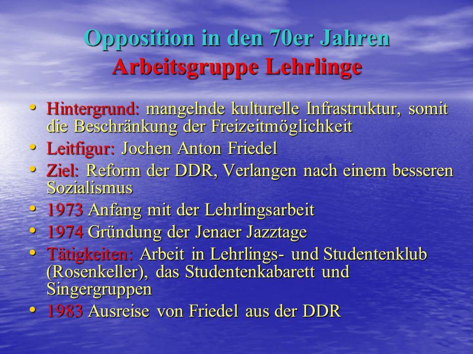 Opposition in den 70er Jahren Arbeitsgruppe Lehrlinge