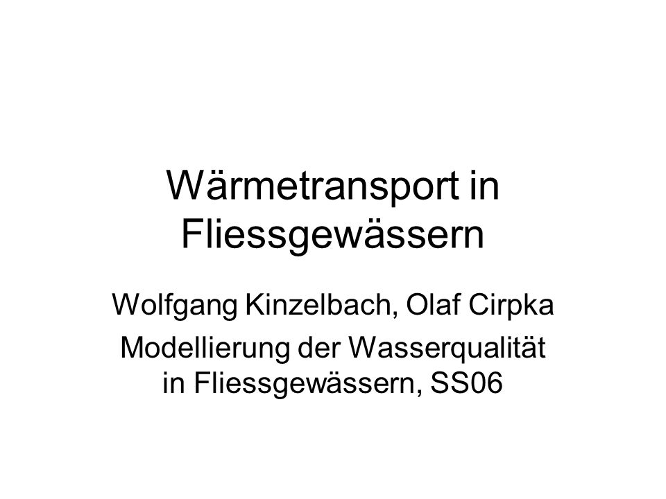Wärmetransport in Fliessgewässern