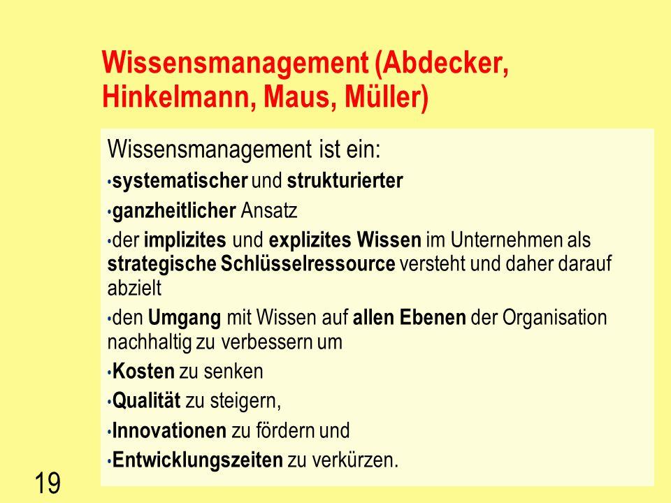Wissensmanagement (Abdecker, Hinkelmann, Maus, Müller)
