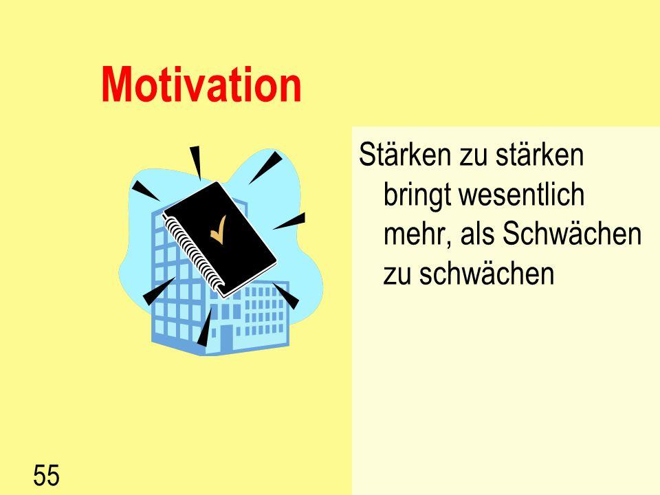 Motivation Stärken zu stärken bringt wesentlich mehr, als Schwächen zu schwächen 55
