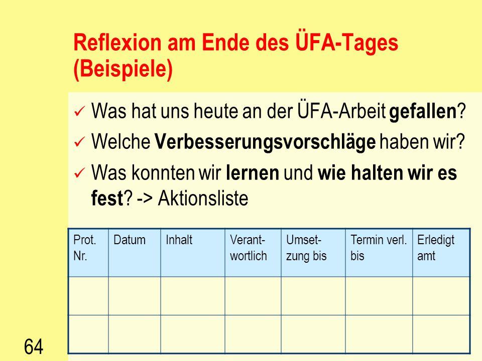 Reflexion am Ende des ÜFA-Tages (Beispiele)
