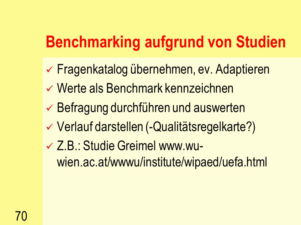 Benchmarking aufgrund von Studien