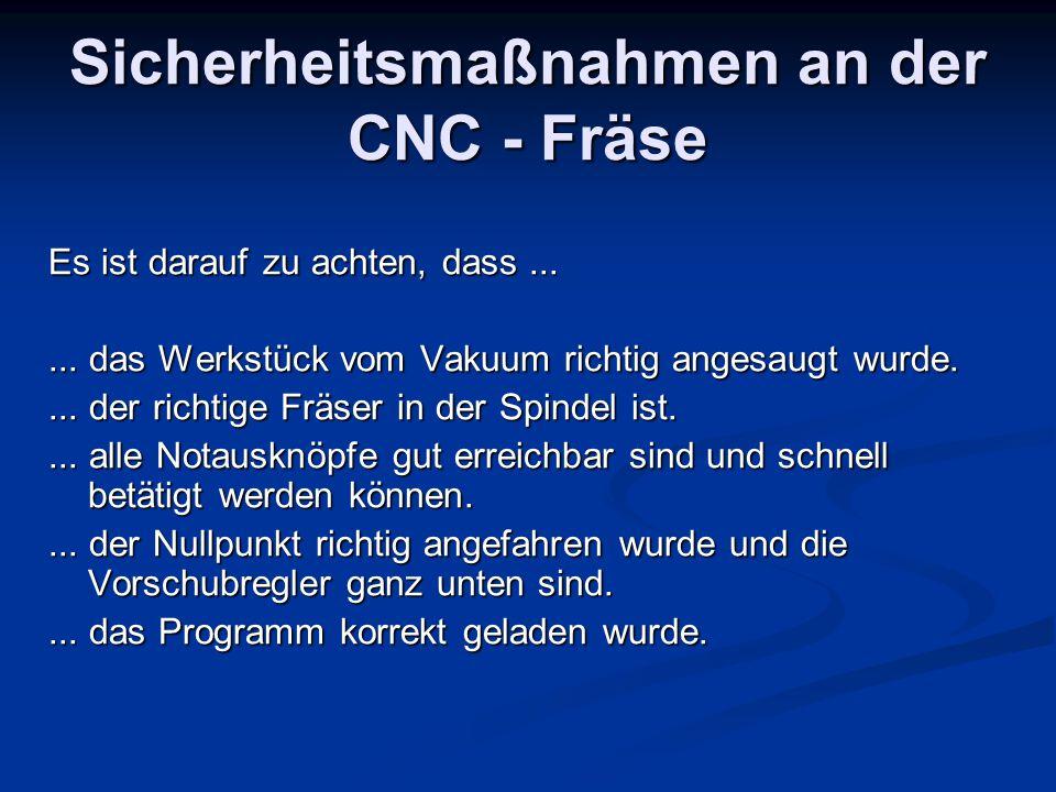 Sicherheitsmaßnahmen an der CNC - Fräse