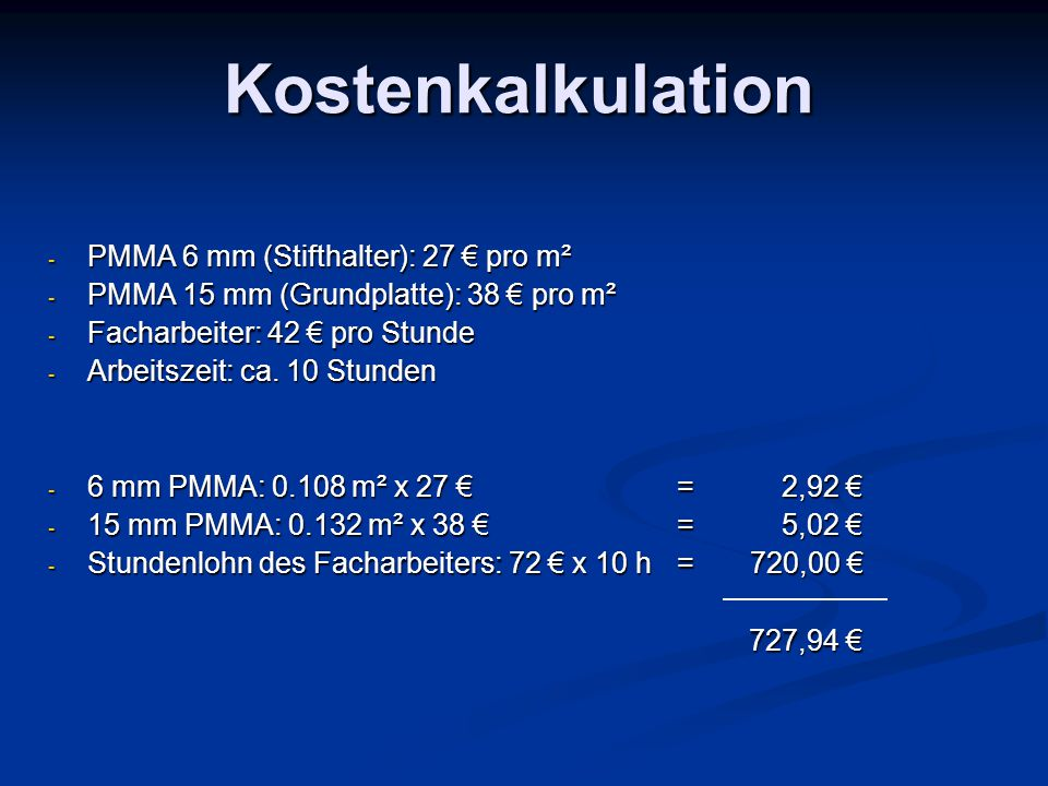 Kostenkalkulation PMMA 6 mm (Stifthalter): 27 € pro m²