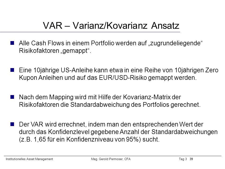 VAR – Varianz/Kovarianz Ansatz