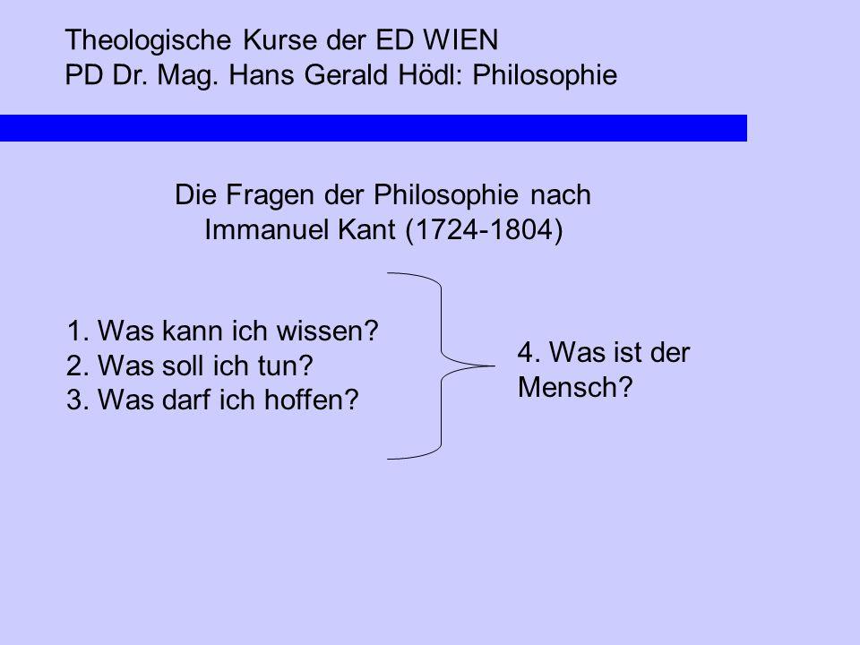 Die Fragen der Philosophie nach Immanuel Kant (1724-1804)