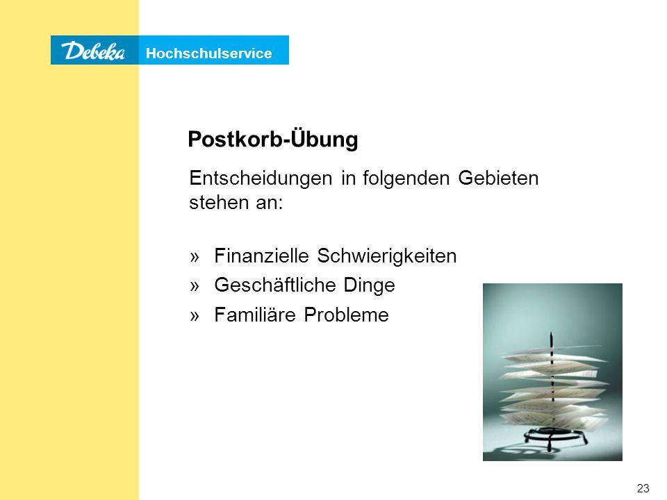 Postkorb-Übung Entscheidungen in folgenden Gebieten stehen an: