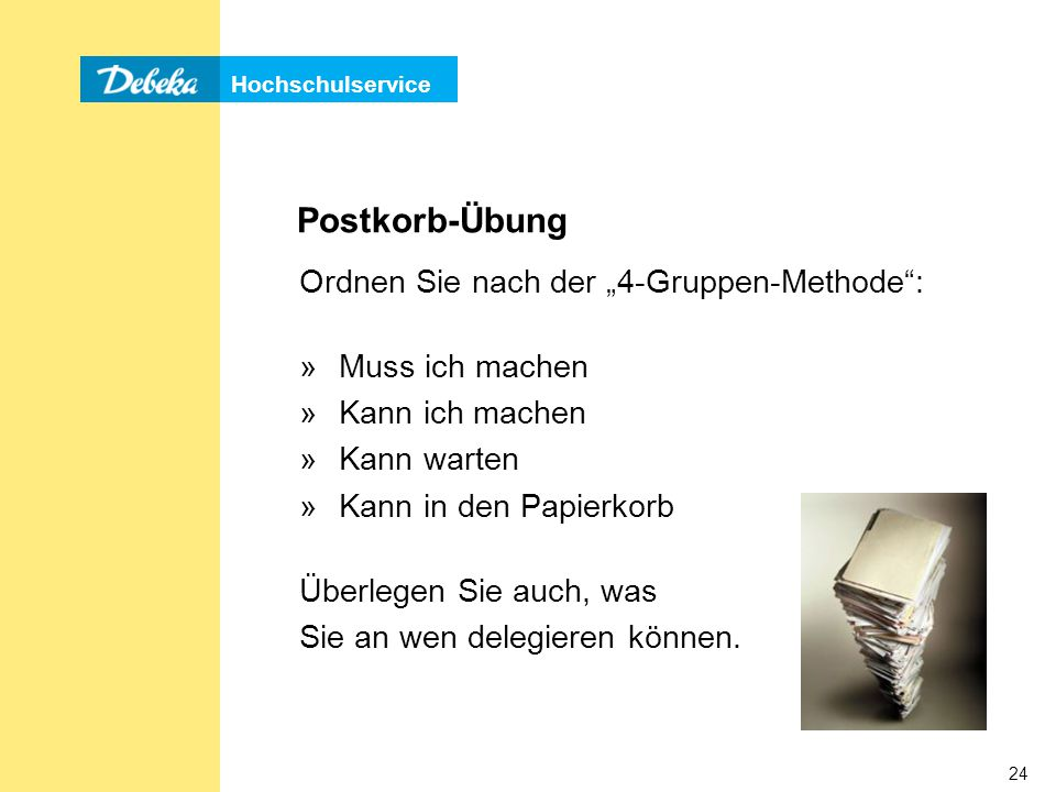 """Postkorb-Übung Ordnen Sie nach der """"4-Gruppen-Methode :"""