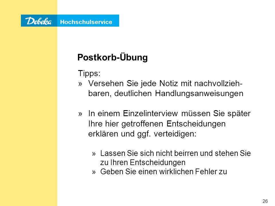 Postkorb-Übung Tipps: