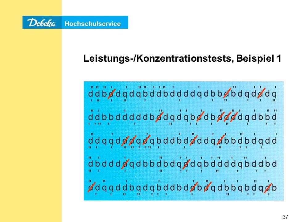 Leistungs-/Konzentrationstests, Beispiel 1