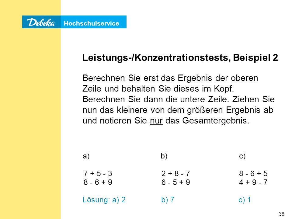 Leistungs-/Konzentrationstests, Beispiel 2