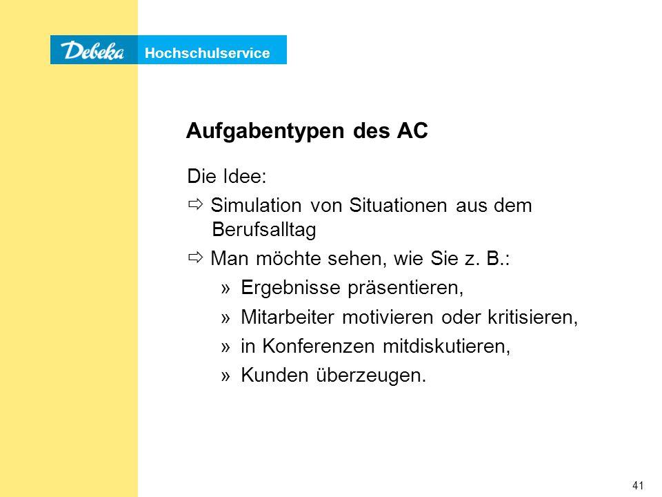 Aufgabentypen des AC Die Idee: