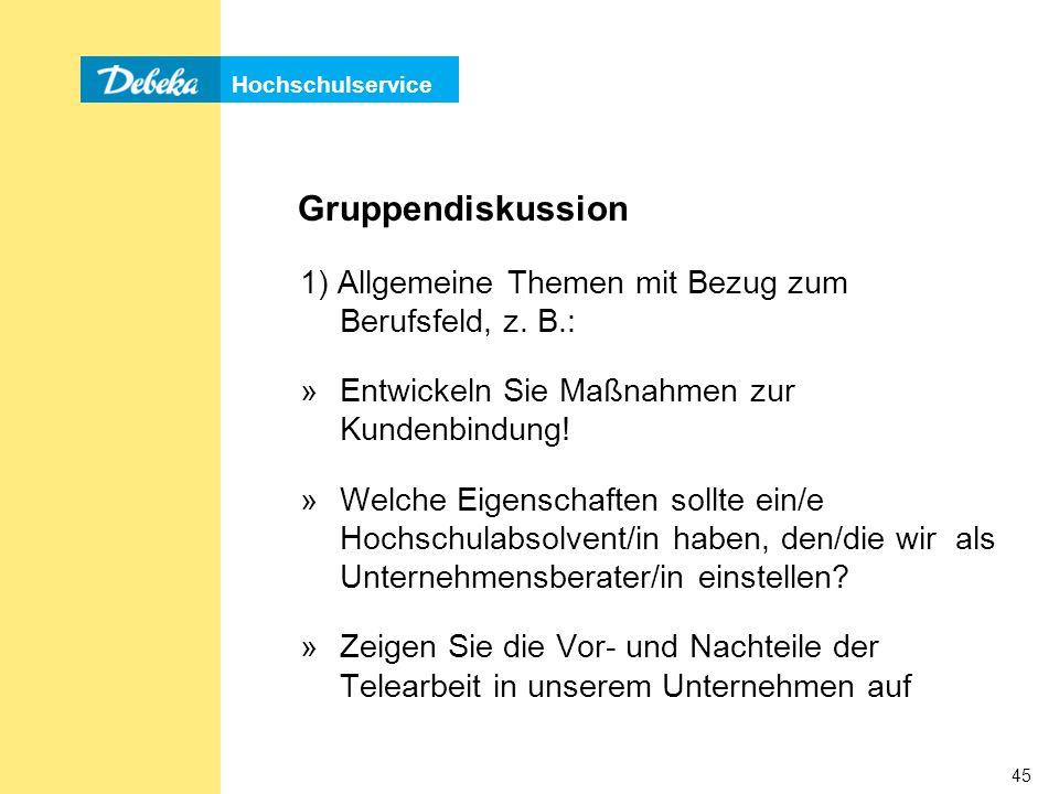 Gruppendiskussion 1) Allgemeine Themen mit Bezug zum Berufsfeld, z. B.: Entwickeln Sie Maßnahmen zur Kundenbindung!