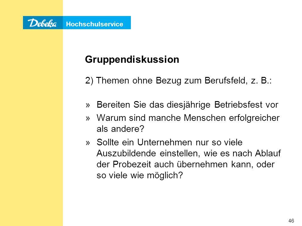 Gruppendiskussion 2) Themen ohne Bezug zum Berufsfeld, z. B.: