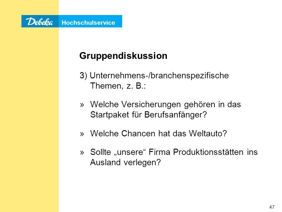 Gruppendiskussion 3) Unternehmens-/branchenspezifische Themen, z. B.: