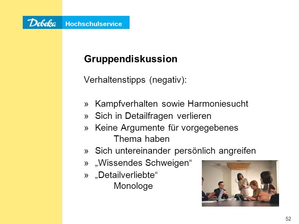 Gruppendiskussion Verhaltenstipps (negativ):
