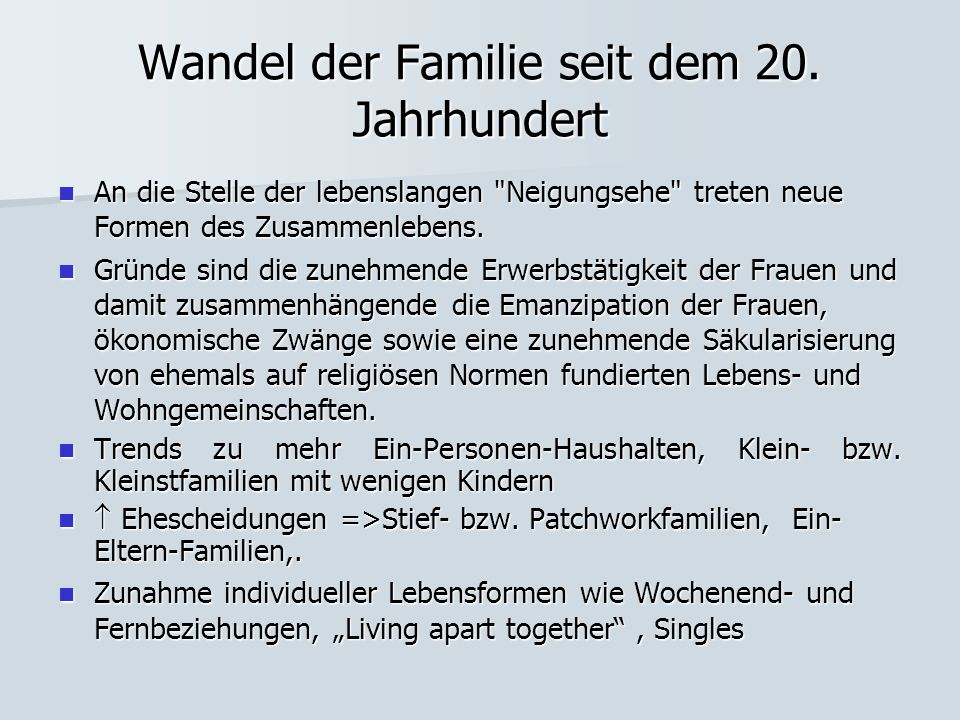 Wandel der Familie seit dem 20. Jahrhundert