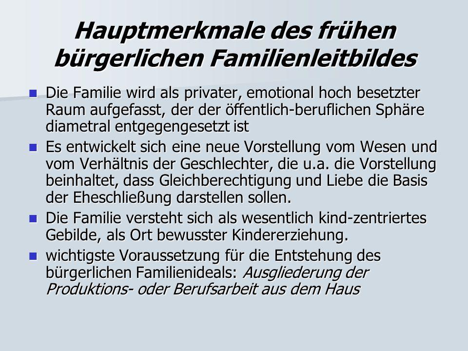 Hauptmerkmale des frühen bürgerlichen Familienleitbildes