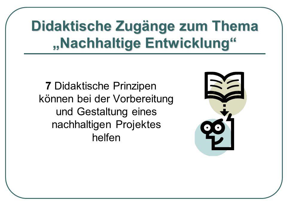 """Didaktische Zugänge zum Thema """"Nachhaltige Entwicklung"""
