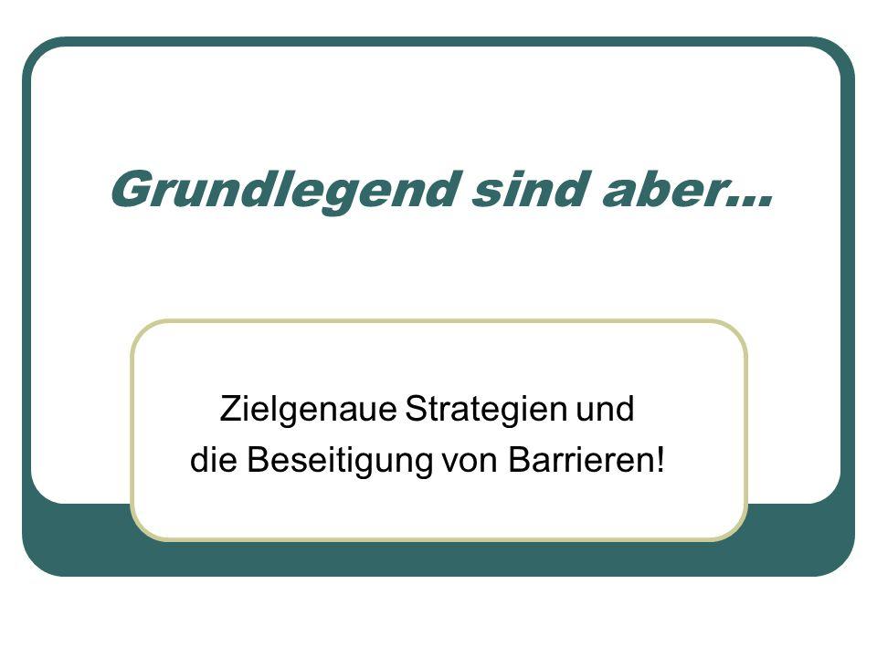 Zielgenaue Strategien und die Beseitigung von Barrieren!