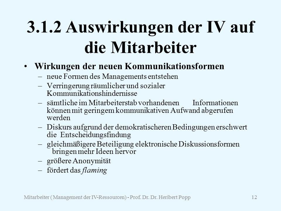3.1.2 Auswirkungen der IV auf die Mitarbeiter