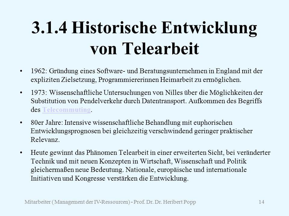 3.1.4 Historische Entwicklung von Telearbeit