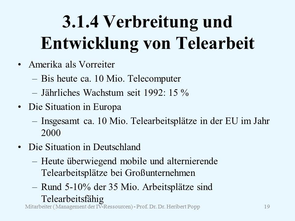 3.1.4 Verbreitung und Entwicklung von Telearbeit