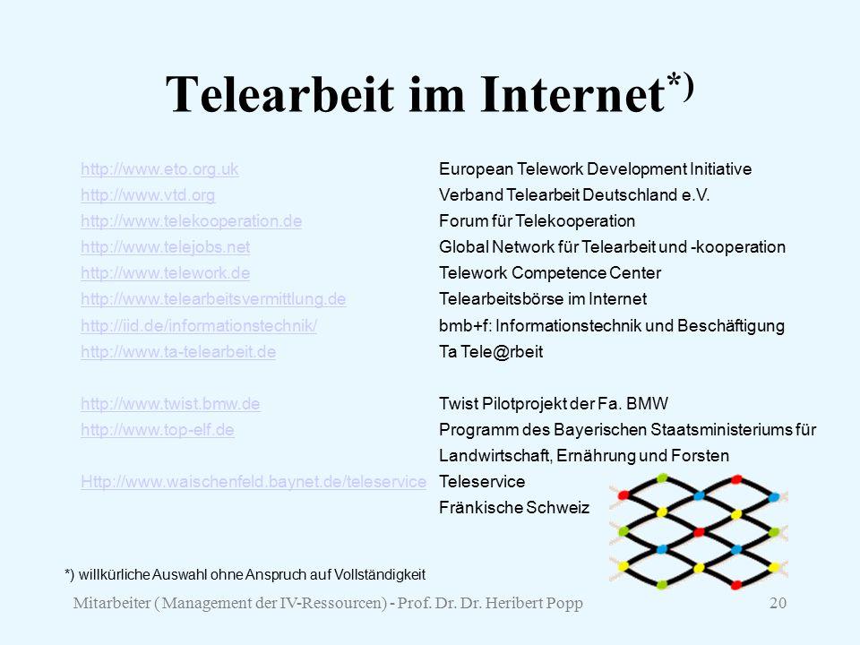 Telearbeit im Internet*)