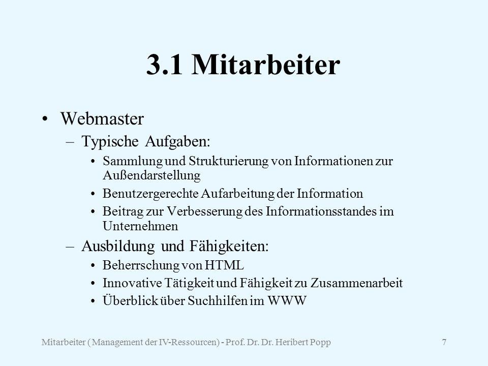 3.1 Mitarbeiter Webmaster Typische Aufgaben: