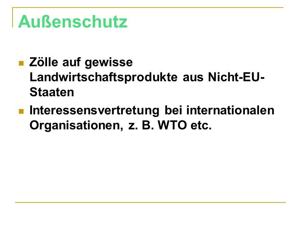 Außenschutz Zölle auf gewisse Landwirtschaftsprodukte aus Nicht-EU-Staaten.