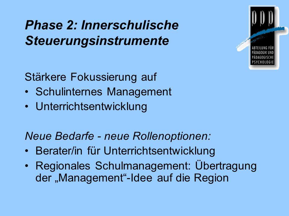 Phase 2: Innerschulische Steuerungsinstrumente