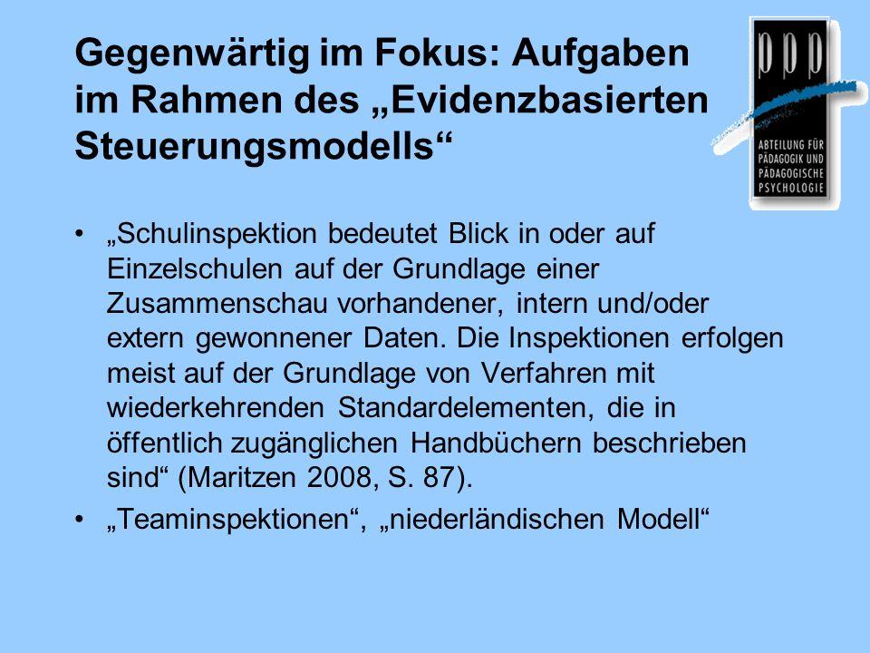 """Gegenwärtig im Fokus: Aufgaben im Rahmen des """"Evidenzbasierten Steuerungsmodells"""
