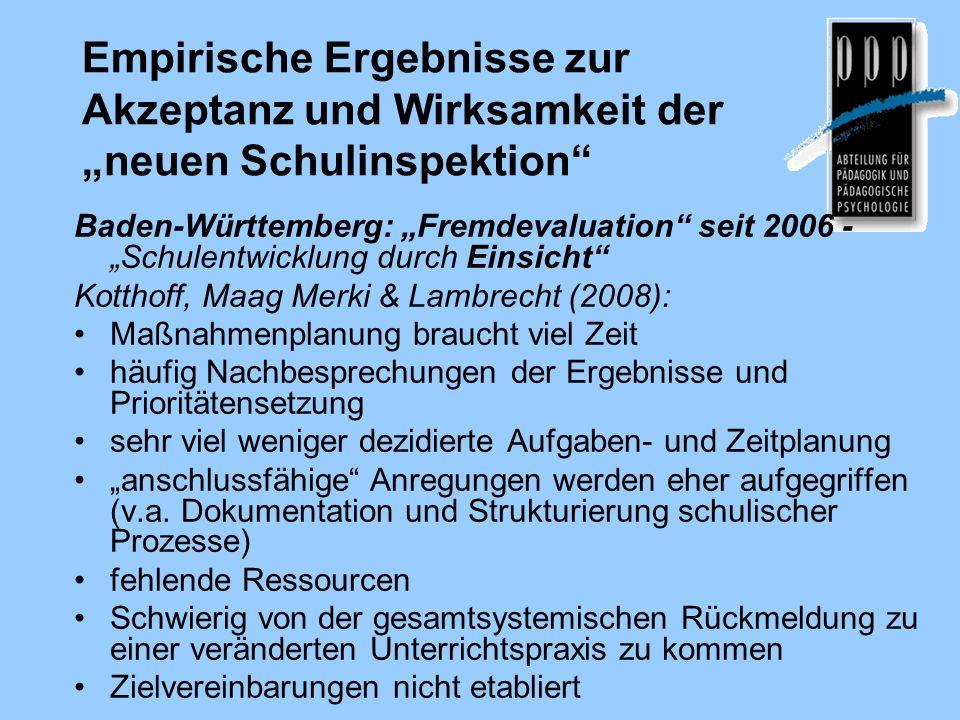 """Empirische Ergebnisse zur Akzeptanz und Wirksamkeit der """"neuen Schulinspektion"""