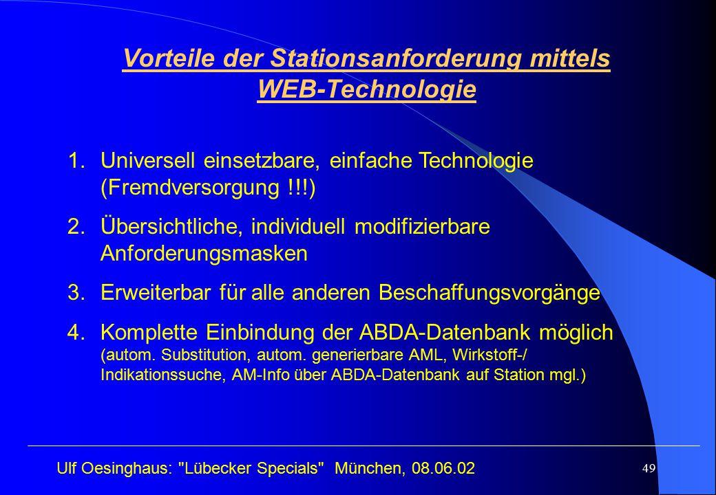 Vorteile der Stationsanforderung mittels WEB-Technologie