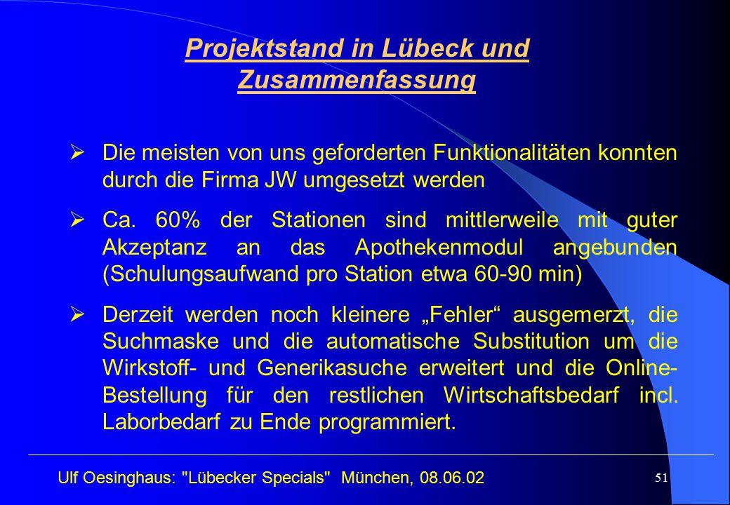 Projektstand in Lübeck und Zusammenfassung