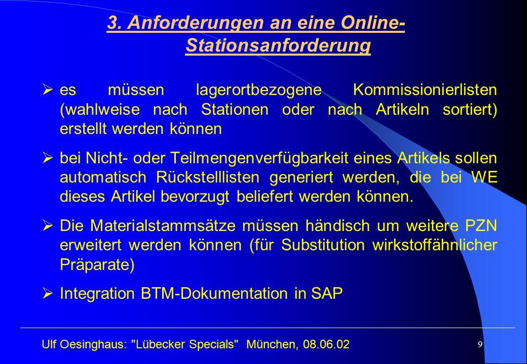 3. Anforderungen an eine Online-Stationsanforderung