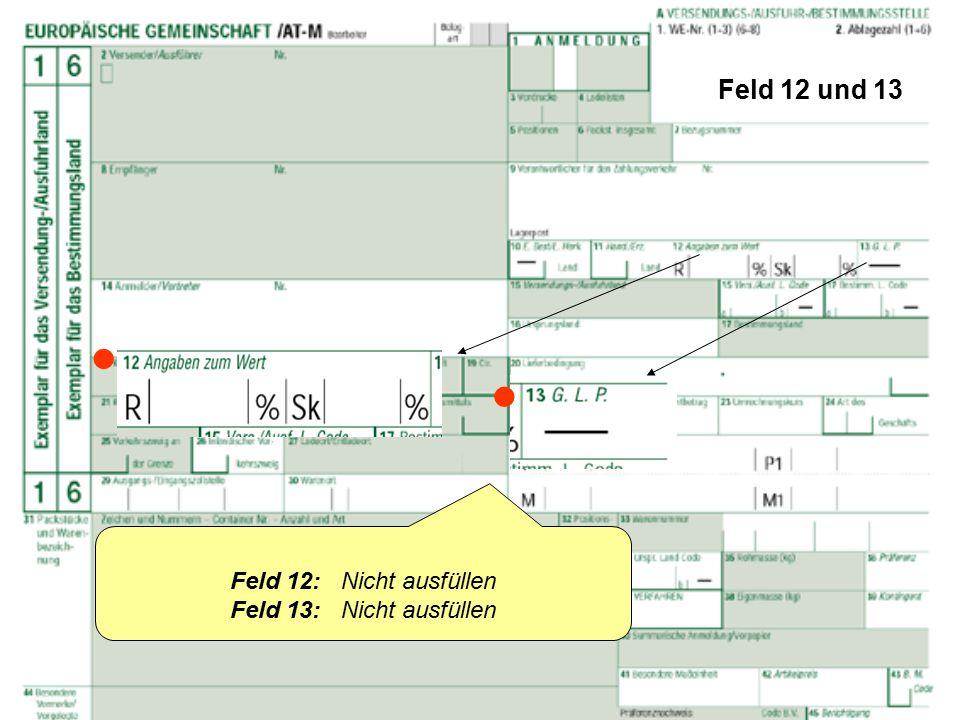 Feld 12 und 13   Feld 12: Nicht ausfüllen Feld 13: Nicht ausfüllen