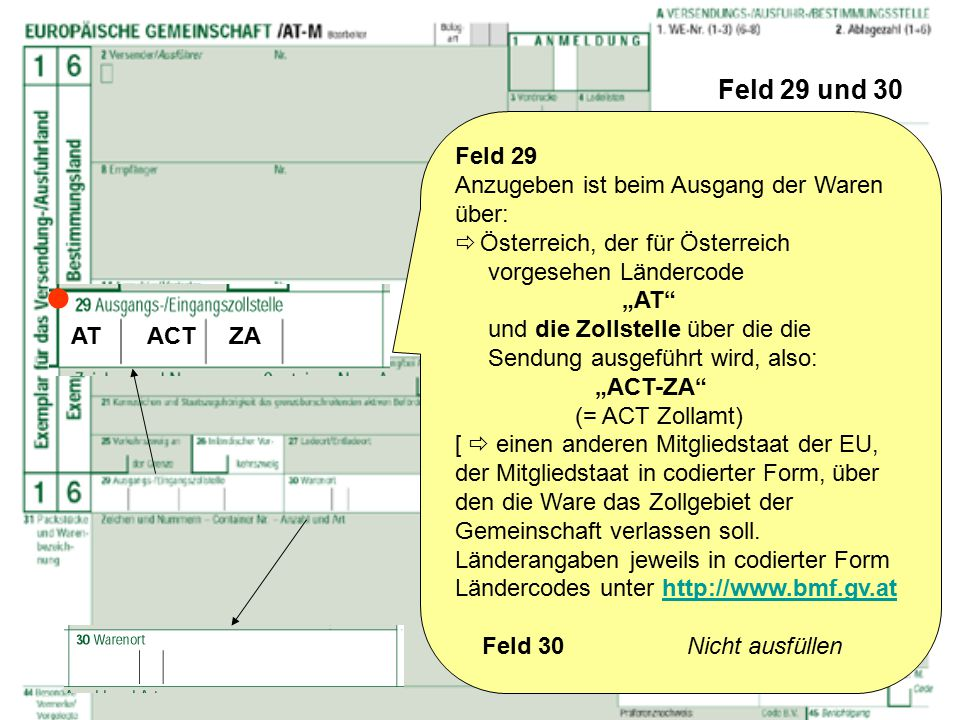  Feld 29 und 30 Feld 29 Anzugeben ist beim Ausgang der Waren über: