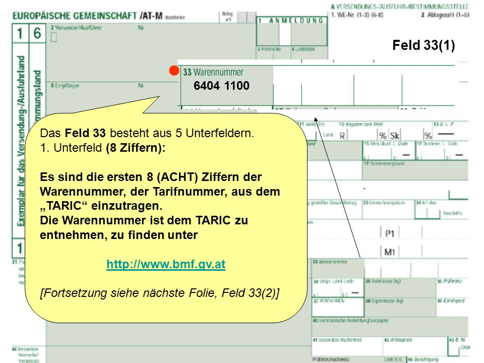  Feld 33(1) 6404 1100 Das Feld 33 besteht aus 5 Unterfeldern.