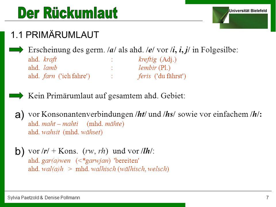 1.1 PRIMÄRUMLAUT Erscheinung des germ. /a/ als ahd. /e/ vor /i, i, j/ in Folgesilbe: ahd. kraft : kreftig (Adj.)