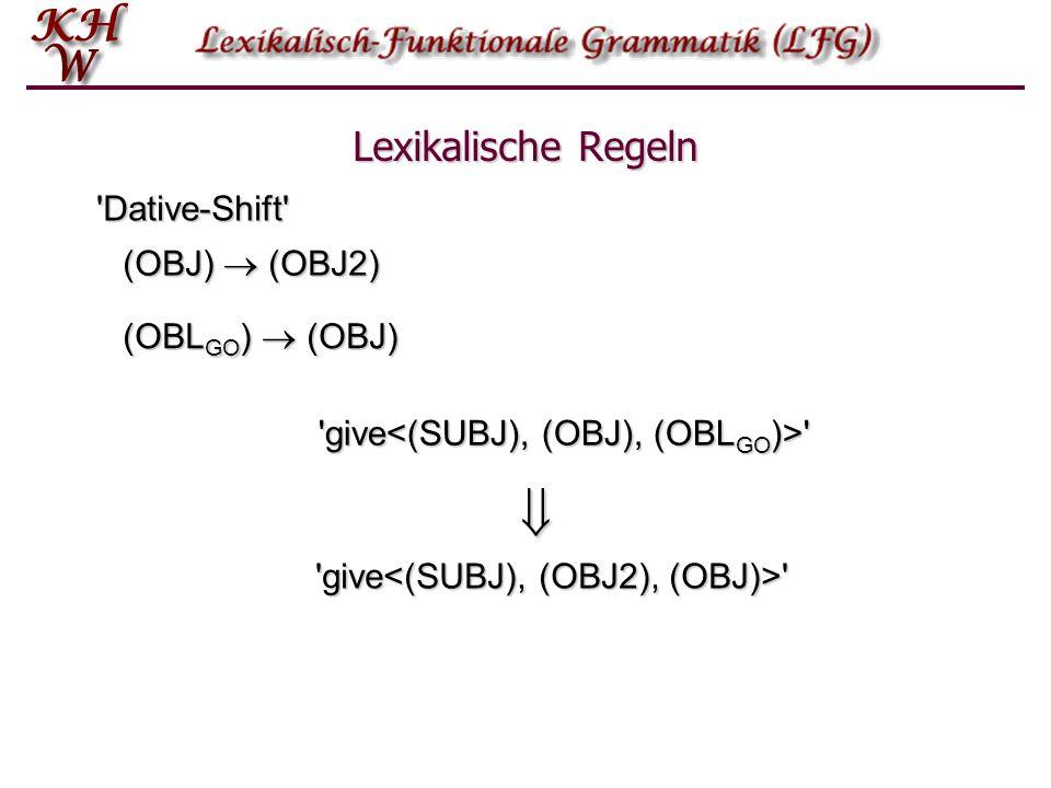  Lexikalische Regeln Dative-Shift (OBJ)  (OBJ2) (OBLGO)  (OBJ)