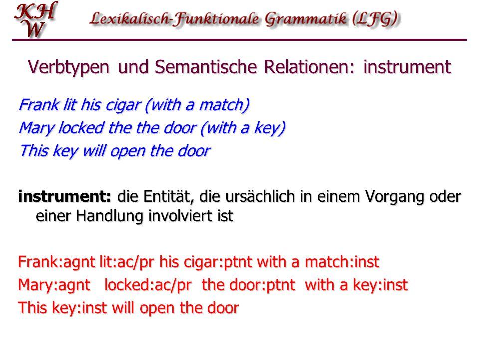 Verbtypen und Semantische Relationen: instrument