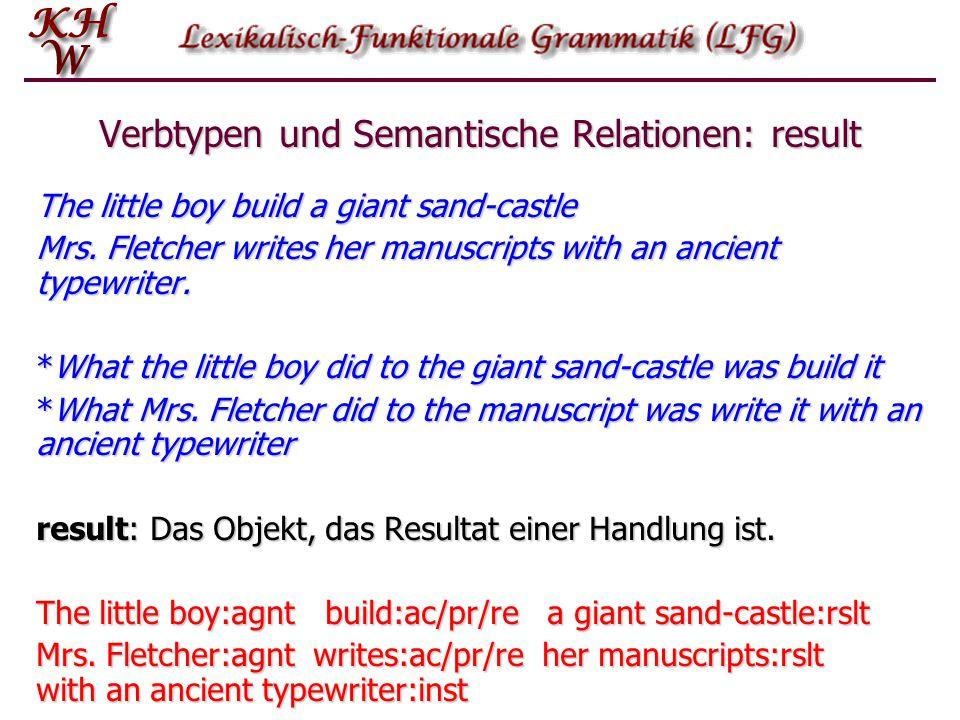 Verbtypen und Semantische Relationen: result