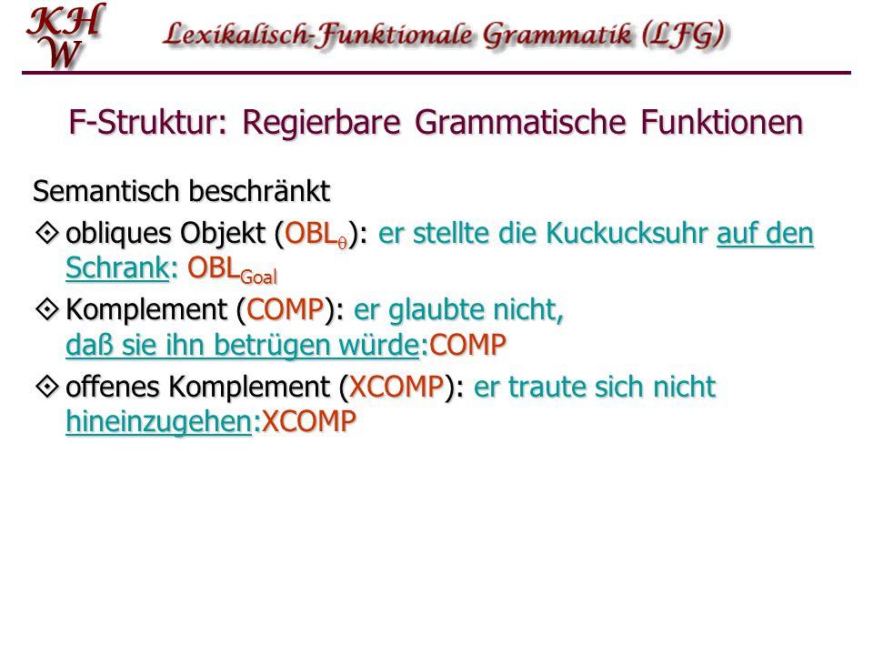 F-Struktur: Regierbare Grammatische Funktionen
