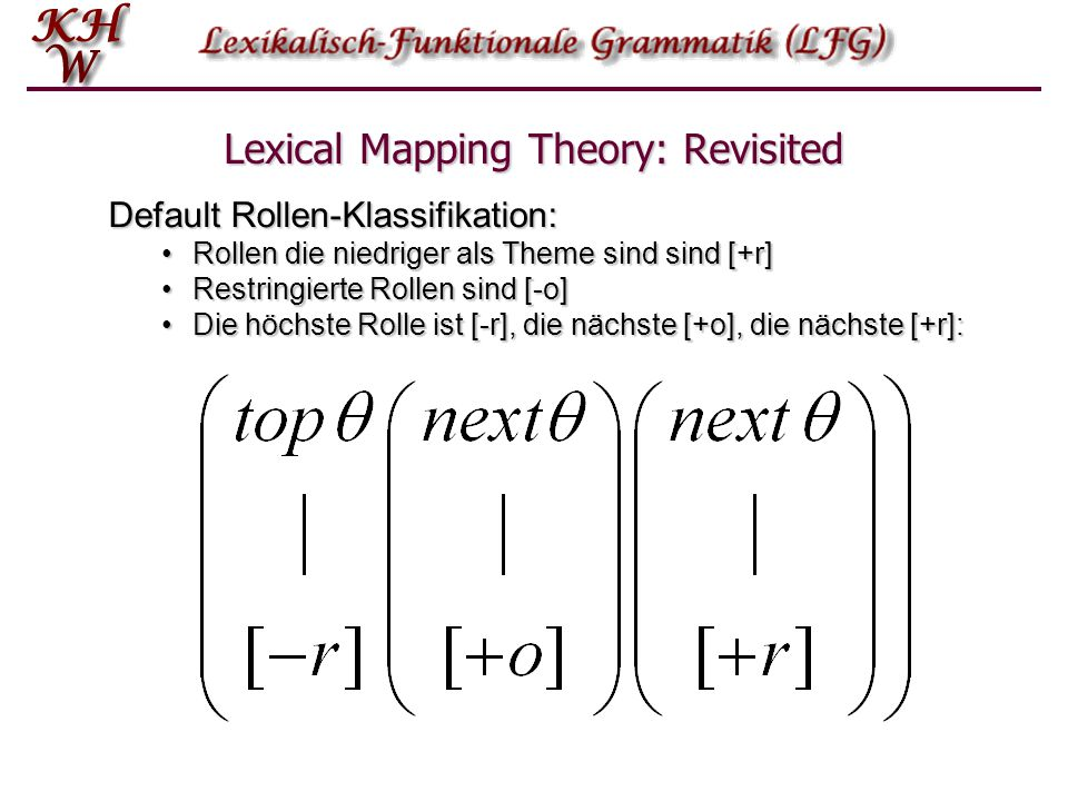 Lexical Mapping Theory: Revisited