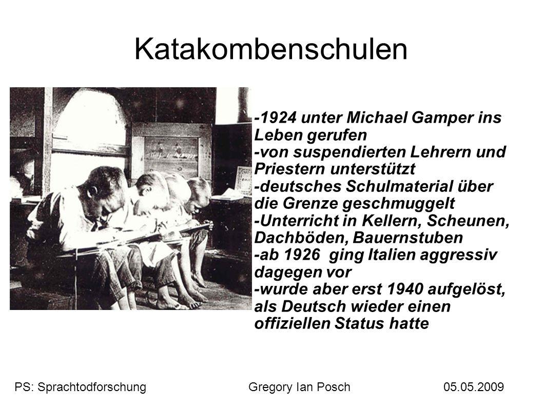 Katakombenschulen -1924 unter Michael Gamper ins Leben gerufen