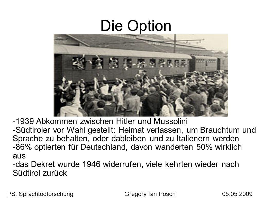 Die Option -1939 Abkommen zwischen Hitler und Mussolini
