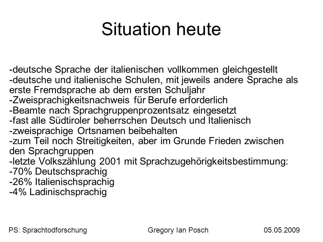 Situation heute -deutsche Sprache der italienischen vollkommen gleichgestellt.