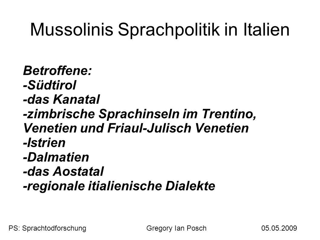Mussolinis Sprachpolitik in Italien